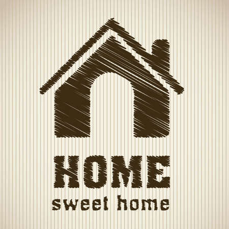 suburbs: Illustration of home icons, house silhouettes on beige background, vector illustration