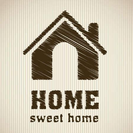 icono inicio: Ilustraci�n de los iconos en casa, siluetas de las casas en el fondo amarillento, ilustraci�n vectorial
