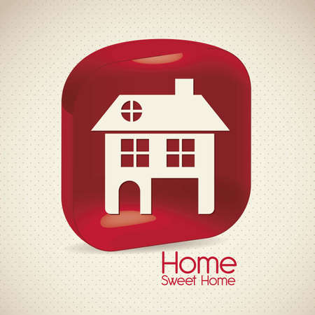 realstate: Illustration of home icons, house silhouettes on beige background, vector illustration