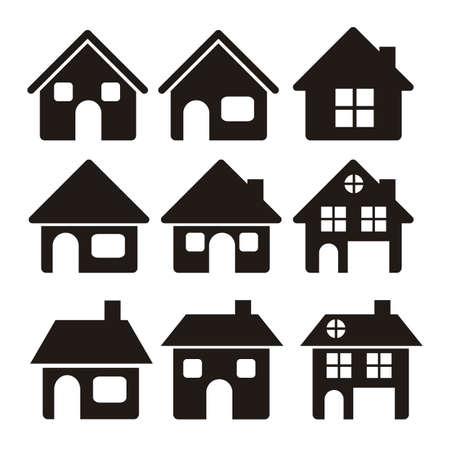 house: Illustratie van huis pictogrammen, huis silhouetten op witte achtergrond, vector illustratie Stock Illustratie
