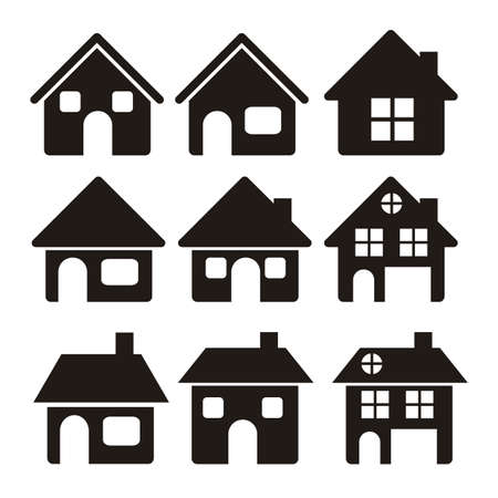 icono inicio: Ilustraci�n de los iconos en casa, siluetas de las casas en el fondo blanco, ilustraci�n vectorial