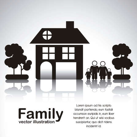 traditional house: Illustration of family icons with house and trees, isolated on white background, vector illustration Illustration