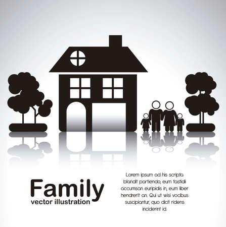 contorno: Ilustraci�n de los iconos de la familia con la casa y los �rboles, aislados en fondo blanco, ilustraci�n vectorial Vectores