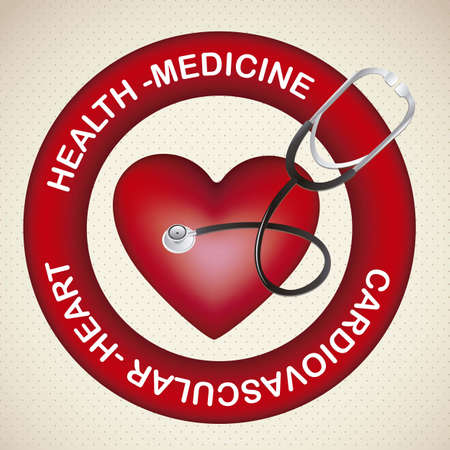 Illustration of health icons, cardiovascular risk, medicine icon, vector illustration Vector