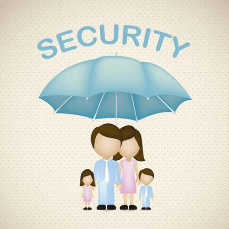 Illustratie van familie iconen, de veiligheid en bescherming van het gezin, vector illustration