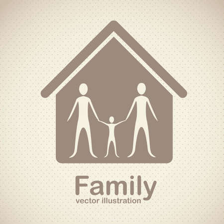 Illustration of family icons, isolated on beige background, vector illustration Vector