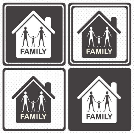 Illustration of family icons, isolated on white background, vector illustration Stock Vector - 15794618