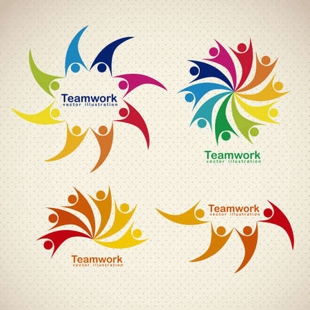 Illustration of teamwork icons, silhouettes of people in colors, vector illustration Vector