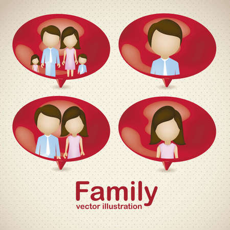 Illustration of family icons in text balloons, isolated on beige background, vector illustration Vector