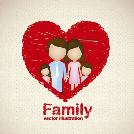 happy young couple: Illustration of family icons in heart sketch, isolated on beige background, vector illustration Illustration