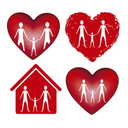 Illustration of family icons in hearts and houses, isolated on white background, vector illustration Stock Vector - 15794521