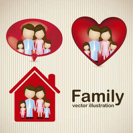 lifestyle family: Ilustraci�n de los iconos de la familia, aislados en fondo amarillento, ilustraci�n vectorial
