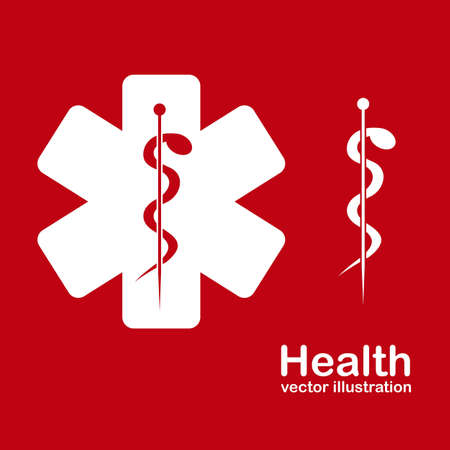Illustration of health icons isolated on red background, medicine icon, vector illustration Stock Vector - 15794402