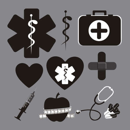 iconography: Illustration of health icons isolated on gray background, medicine icon, vector illustration