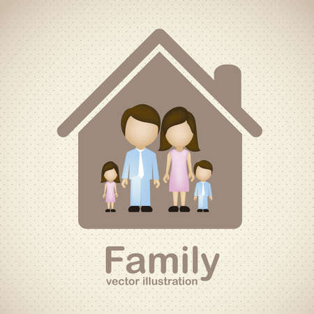 happy family house: Illustration of family icons, isolated on beige background, vector illustration