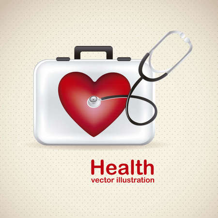 iconography: Illustration of health icons isolated on beige background, cardiovascular risk, vector illustration Illustration