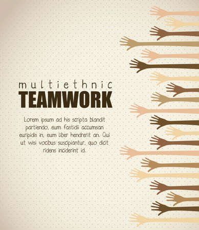 multiethnic: Illustration of multiethnic teamwork, people silhouettes in colors, vector illustration Illustration