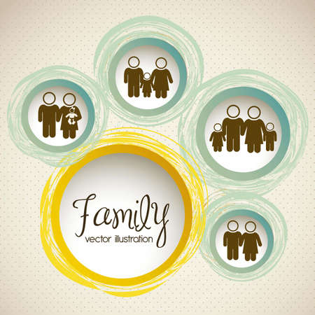 family isolated: Illustration of family icons, isolated on beige background, vector illustration