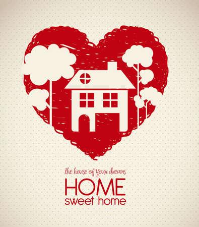 maison: Illustration des ic�nes de la maison, silhouette maison sur le croquis coeur, illustration vectorielle Illustration