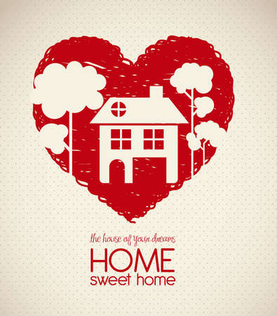 Illustration of home icons, house silhouette on heart sketch, vector illustration Ilustrace