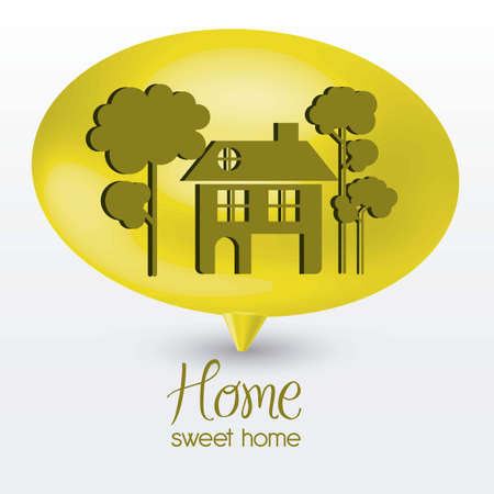 realstate: Illustration of home icon on text balloons, house silhouettes on white background, vector illustration
