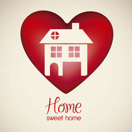 realstate: Illustration of home icon on heart, house silhouettes on white background, vector illustration Illustration