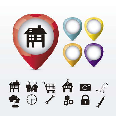 signaling: Illustration of markers of places, with different icons, vector illustration Illustration