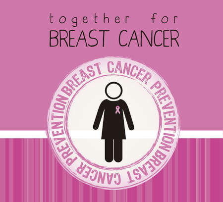 cancer woman: Illustration of breast cancer, woman with awareness ribbon, vector illustration