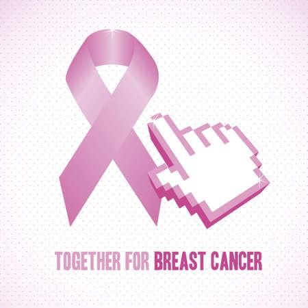 fighting cancer: Illustration of breast cancer, fighting breast cancer, vector illustration