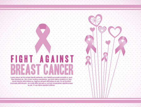 cancer: Illustration of breast cancer, fighting breast cancer, vector illustration
