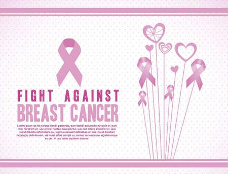 senos: Ilustraci�n del c�ncer de mama, el c�ncer de mama lucha, ilustraci�n vectorial