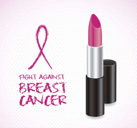 cancer ribbons: Illustration of breast cancer, woman lipstick, vector illustration Illustration