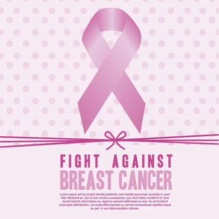 cancer ribbon: Illustration of breast cancer, awareness ribbon, vector illustration