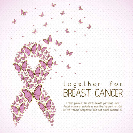 seni: Illustrazione di cancro al seno, nastro di consapevolezza farfalla, illustrazione vettoriale