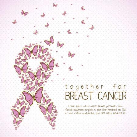 cancer de mama: Ilustraci�n del c�ncer de mama, cinta mariposa conciencia, ilustraci�n vectorial Vectores