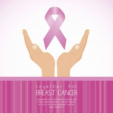female breast: Illustration of breast cancer bag, awareness ribbon, vector illustration