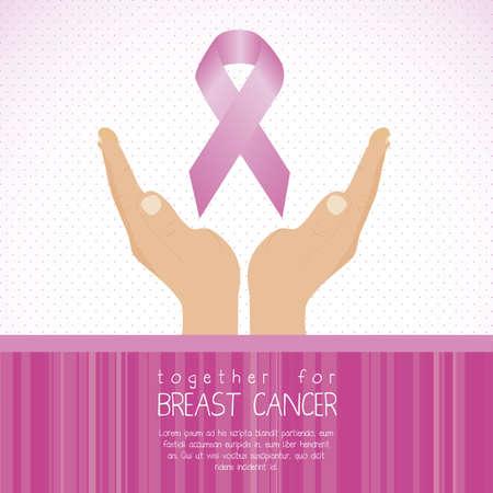 seni: Illustrazione del sacchetto di cancro al seno, nastro di consapevolezza, illustrazione vettoriale