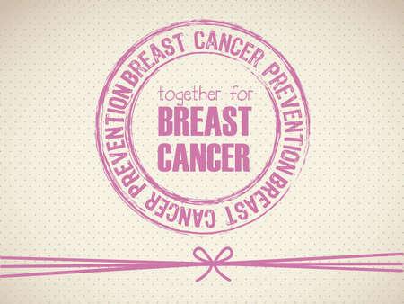 Illustration of breast cancer seal, awareness ribbon, vector illustration