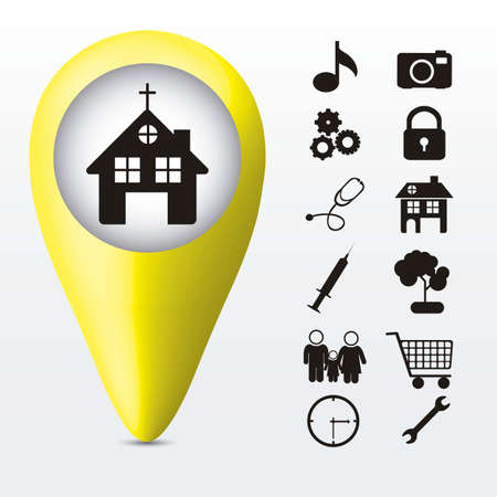 Illustration of markers of places, with different icons, vector illustration Vector