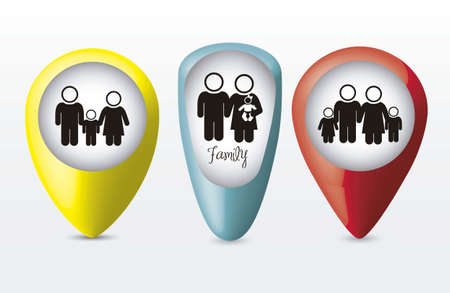 signaling: Illustration of family icons on buttons, isolated on white background, vector illustration