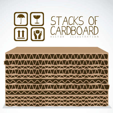 corrugated cardboard: Illustration of stacks of cardboard boxes, cardboard texture, vector illustration Illustration