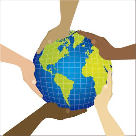 multiethnic: Illustration of multiethnic teamwork, people silhouettes in colors, vector illustration Illustration