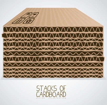 corrugated box: Illustration of stacks of cardboard boxes, cardboard texture, vector illustration Illustration