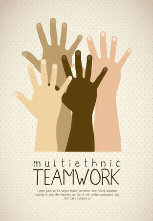 Illustration of multiethnic teamwork, people silhouettes in colors, vector illustration Vector