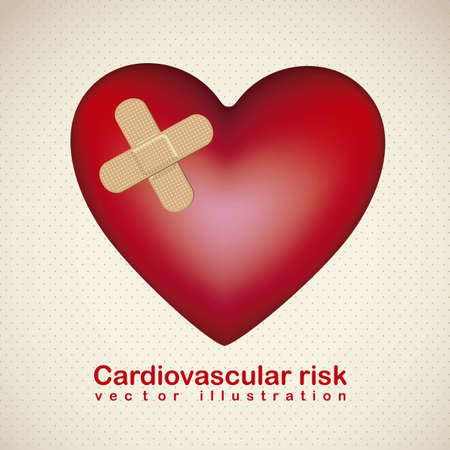 iconography: Illustration of health, heart with a adhesive cure,  cardiovascular risk, vector illustration