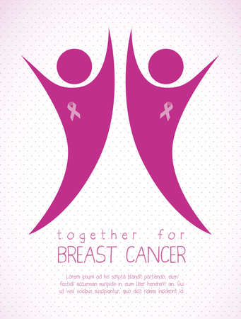 female breast: Illustration of breast cancer, fighting breast cancer,  woman with awareness ribbon, vector illustration Illustration
