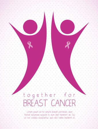 seni: Illustrazione di cancro al seno, la lotta contro il cancro al seno, la donna con nastro di sensibilizzazione, illustrazione vettoriale