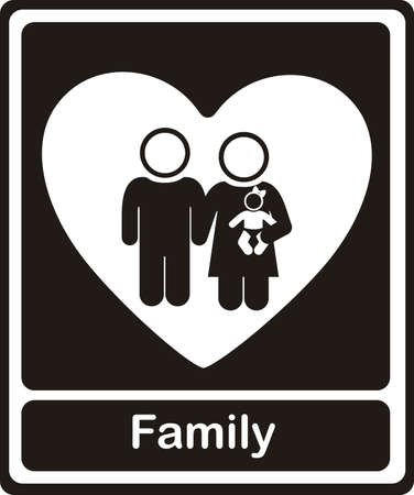 Illustration of family icons on heart, isolated on white background, vector illustration Stock Vector - 15794395