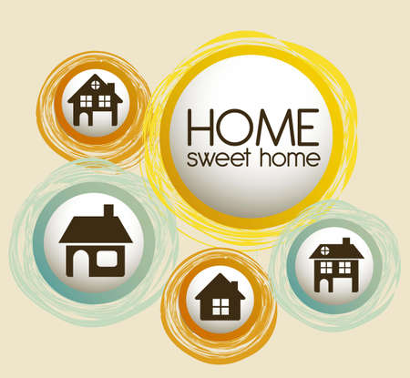 Illustration of home icons, house silhouettes on beige background, vector illustration Vector