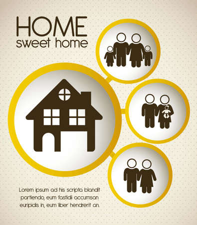 Illustration of home and family icons, house silhouettes on beige background, vector illustration Vector